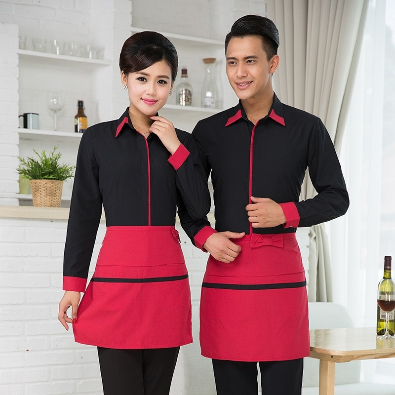 Hotel Work Clothes Jacket Waitress Long Sleeve Uniform Coffee Shop Fast Food Shops Hot Pot Catering Waiter Men Overalls H2354