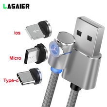 2m L-Line 90 Degree 3 in1 Type Magnetic Cable Micro USB Cable & USB Type C Cable LED Magnet Charger Cable For iPhone X 8 7 6 цена и фото
