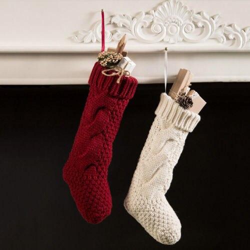 2017 xmas stockings santa claus elf shoes boot suspenders candy gift bag christmas cotton winter stockings - Xmas Stockings