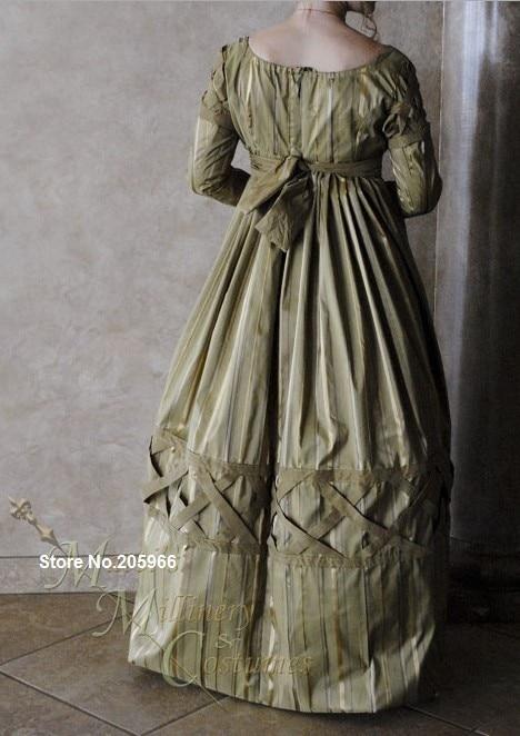 CUSTOM Olive Green Jane Austen Style Regency Gown Dress with long ...