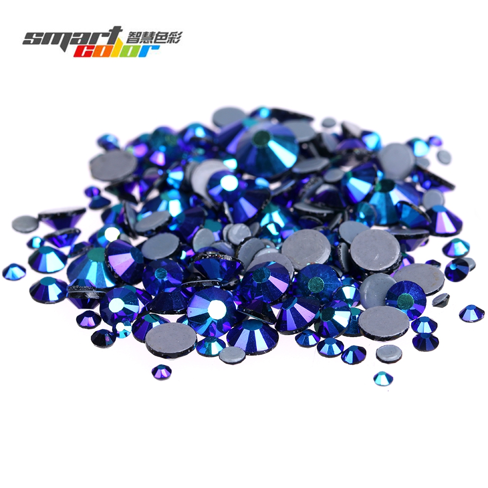 Jet AB Color Hotfix Strass Rhinestones Imitation Round Flatback Iron On Glass Crystals And Stones Appliques Jewelry Decorations
