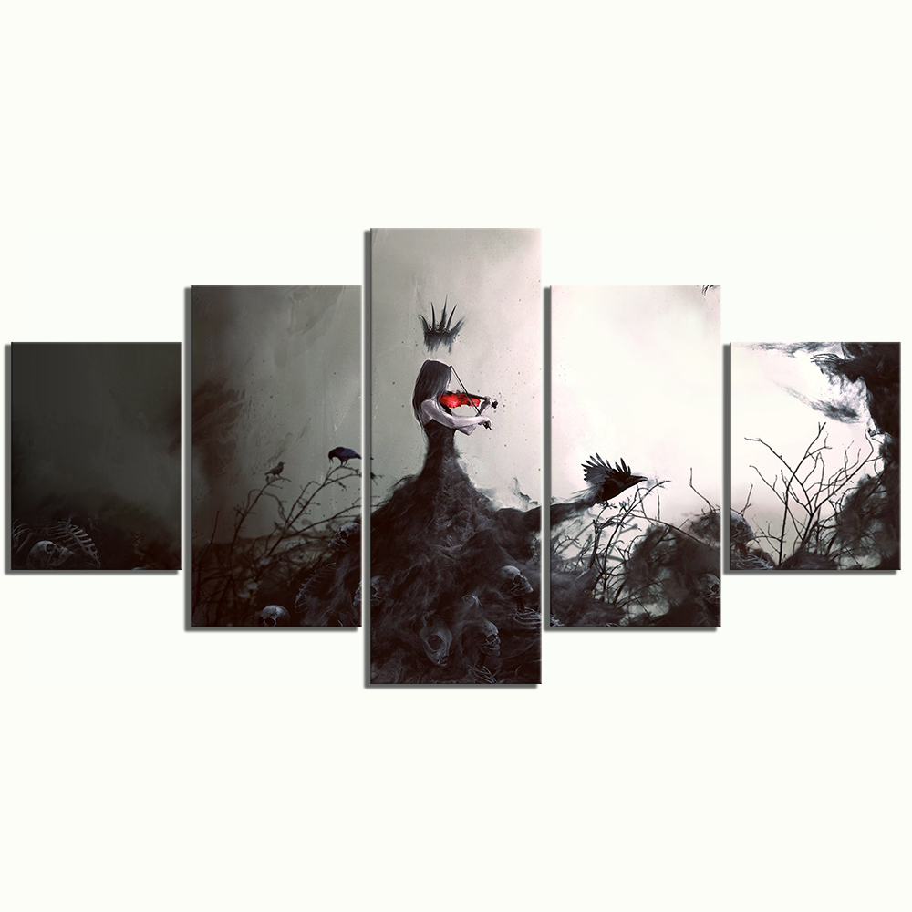 5 Piece Abstract Art Paintings Woman Playing The Violin Pictures Artwork Canvas Art Wall Paintings for Bedroom Wall Decor 3