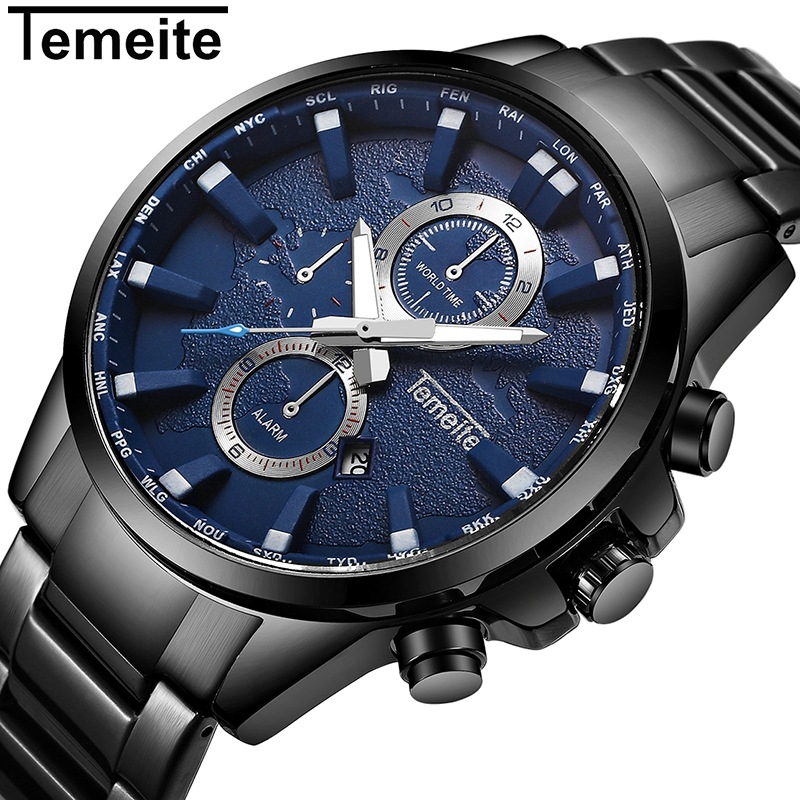 TEMEITE Mens Watches Stainless Steel Top Brand Luxury Sport Watch For Men 3ATM Quartz Wristwatch Male Alram Calendar Relogio