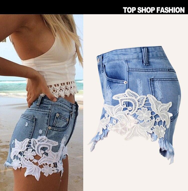 Denim Casual Libre Ripped Envío Encaje Pocket Vintage Azul Shorts Las Verano Para Women Mujeres Superventas Hot 2017 WgAnqPA