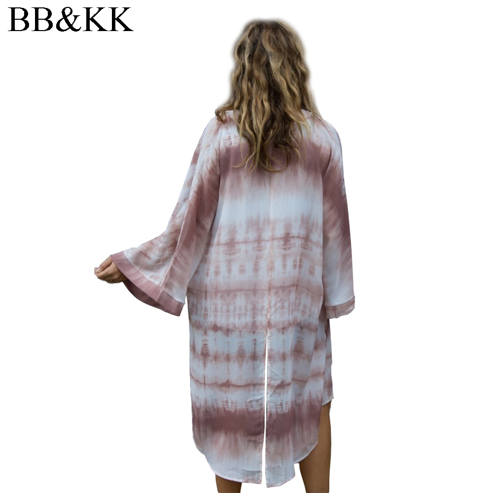 Zomerstijl Dames Negen Kwartskoker Bedrukt Chiffon Boho Kimono Vest - Dameskleding