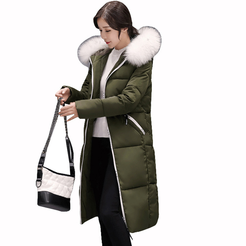 Snow Winter Women long Coats Jacket cotton Padded Hooded Warm Jackets big Fur Collar Zipper High Quality New outerwear QH0655 snow wear 2017 high quality winter women jacket cotton coats fur collar hooded parkas fashion long thick femme outwear cm1346