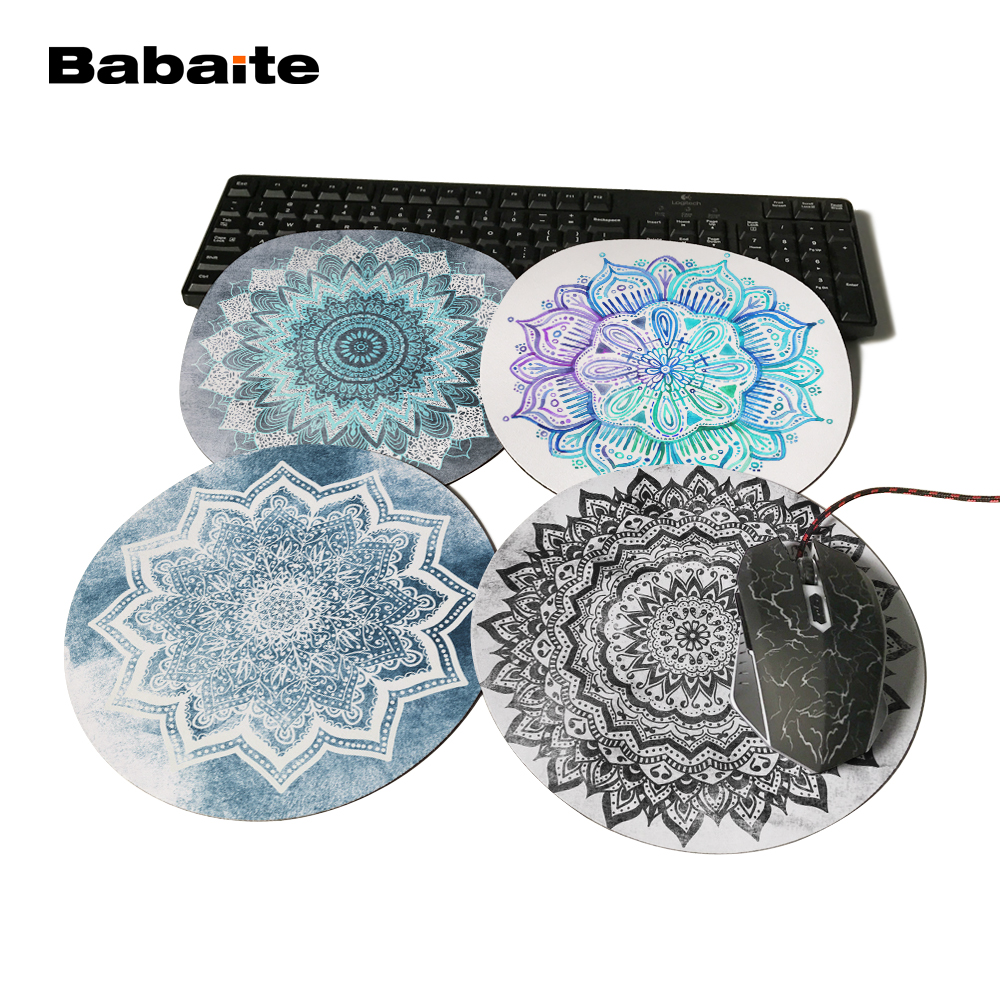 Babaite Black Jewel And Blueish Sea Flower Mandala Mousepad Anti-Slip PC Laptop Gamer Speed Mice Mat Rubber Round MousePad