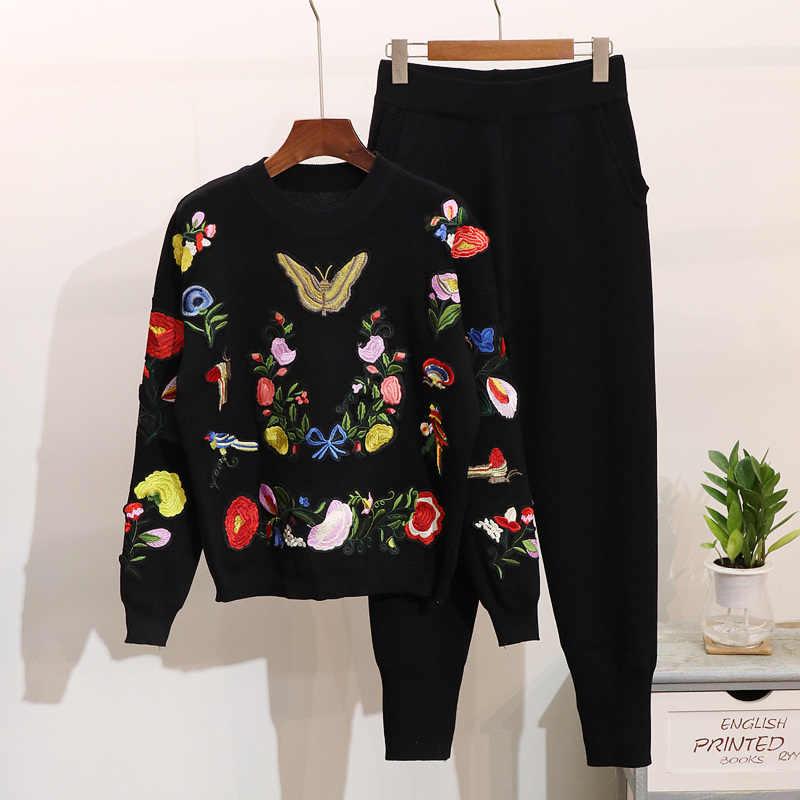 2020 가을 새로운 여성 니트 세트 Tracksuit 한국어 자 수 나비 꽃 캐주얼 긴 소매 스웨터 + 바지 2 조각 세트