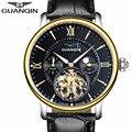 Mens relógios top marca de luxo guanqin tourbillon moon phase mecânico automático de couro relógio de pulso dos homens do esporte relogio masculino