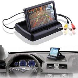 4.3 Cal cyfrowy Monitor samochodowy tft lcd składany Monitor wyświetlacz kamera cofania system parkowania samochodowy Monitor z widokiem z kamery cofania NTSC PAL