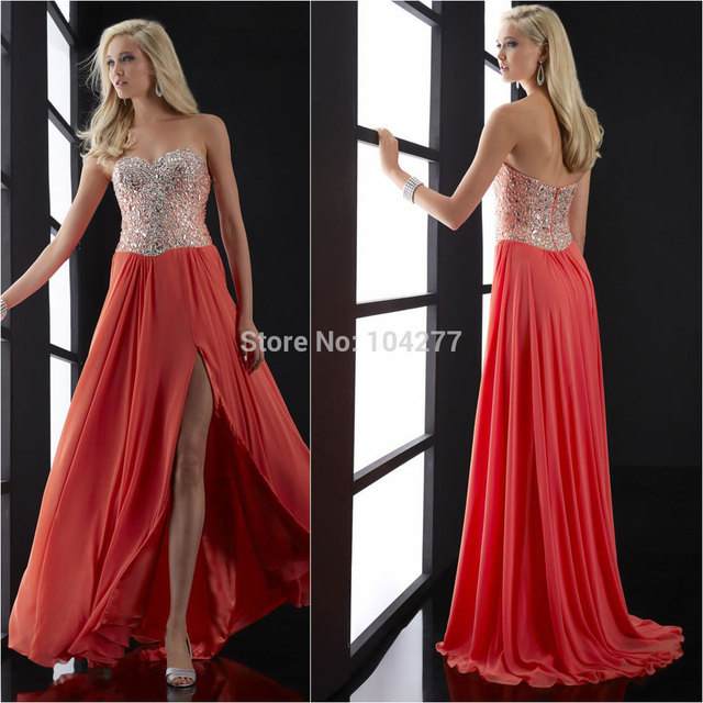 23New Arrival Beaded Bodice Chiffon 2015 Prom Dresses Strapless ...