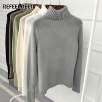 Refeeldeer New Loose Thick Warm Winter Sweater Women Turtleneck 2017 Knit Tricot Jumper Women Sweaters And