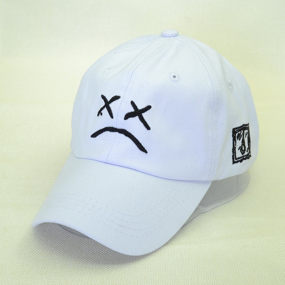 100% Cotton Lil Peep Embroidery   Baseball     Cap   Sad face Hat xxxtentacion Hip Hop   Cap   Golf Love lil.peep Snapback Women Men Dad Hat