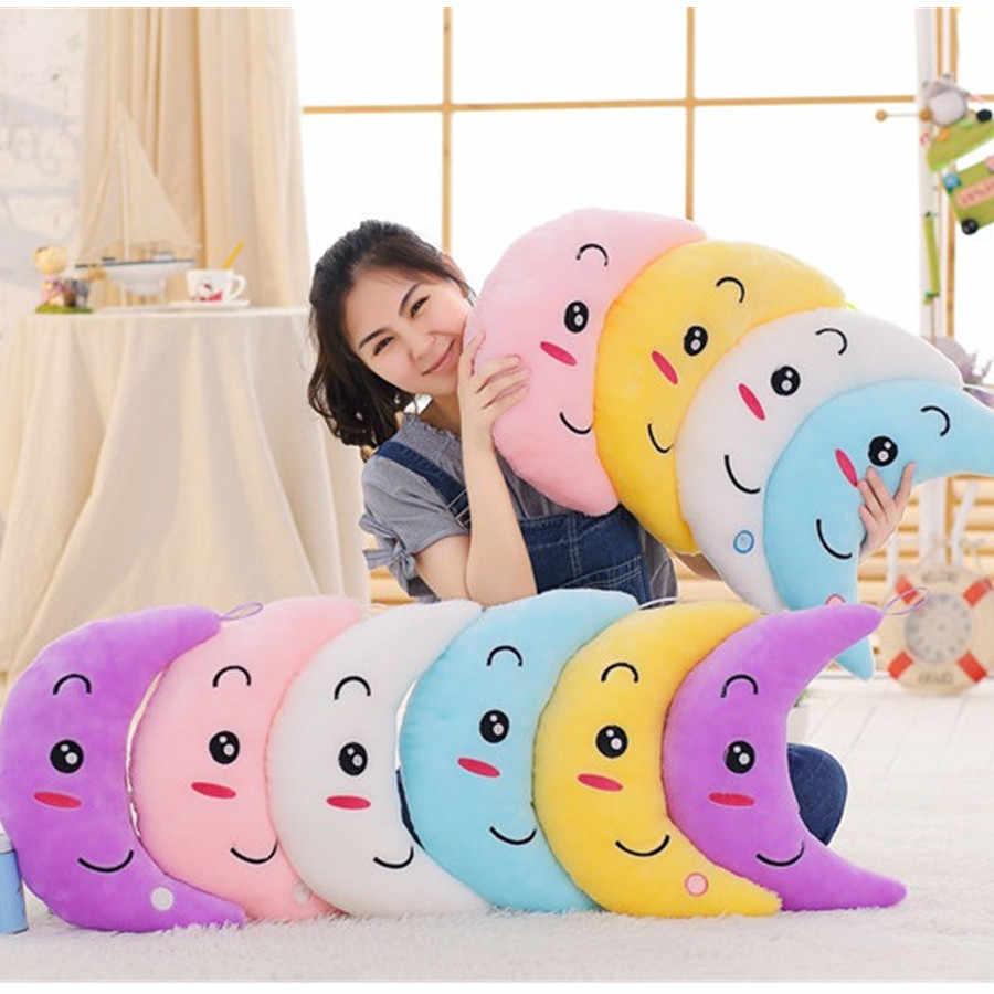 Aydınlık yastık yıldız ay yastık renkli parlayan yastık peluş bebek led ışık oyuncaklar kız çocuklar için doğum günü yatak odası dekorasyon