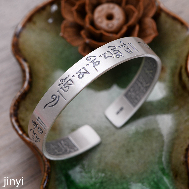 KJJEAXCMY jewelry, 999 sterling silver, six character, real character, couple, men's and women's open bracelet. religious institutions and character building