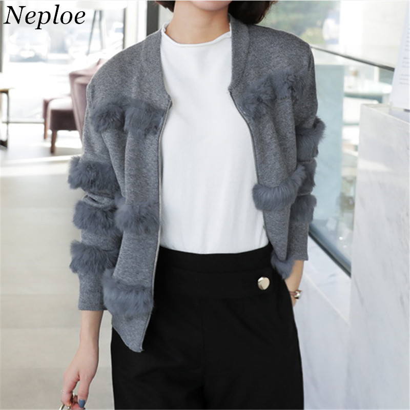 Cardigans Shock-Resistant And Antimagnetic Competent Neploe Faux Fur Patchwork Zipper Cardigan Solid Knitted Female Open Stich 2019 Autumn Fashion Casual Loose Women Sweater 69080 Waterproof Women's Clothing