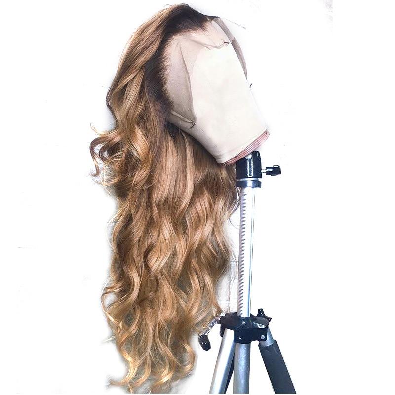 1B/27 Кружевные передние человеческие волосы парики с детскими волосами волнистые предварительно сорванные Омбре цвет бразильские волосы remy парики для женщин отбеливатель узлы - Цвет волос: 1b 27