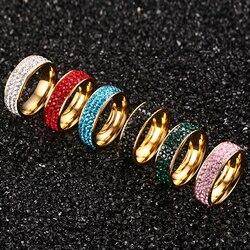 Multicolorido 3 row cristal pedra anéis de casamento feminino 7mm largura cor do ouro