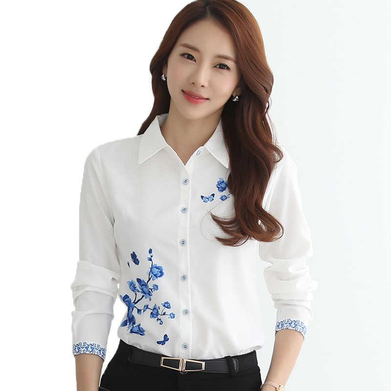 32078b5f7b1 Сезон  весна-лето для женщин блузка рубашка Мода 2018 г. элегантный плюс  размеры