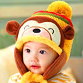 Autumn winter children's hat cartoon monkey shape baby hat soft and comfortable cute knitting wool hat baby wrapped head cap