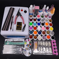 Pro 36w UV Lamp Nail Gel Kit 36 UV Gel Solid Glitter UV Gel Sets Topcoat Brush Full Nail Art Tools Kit #N307