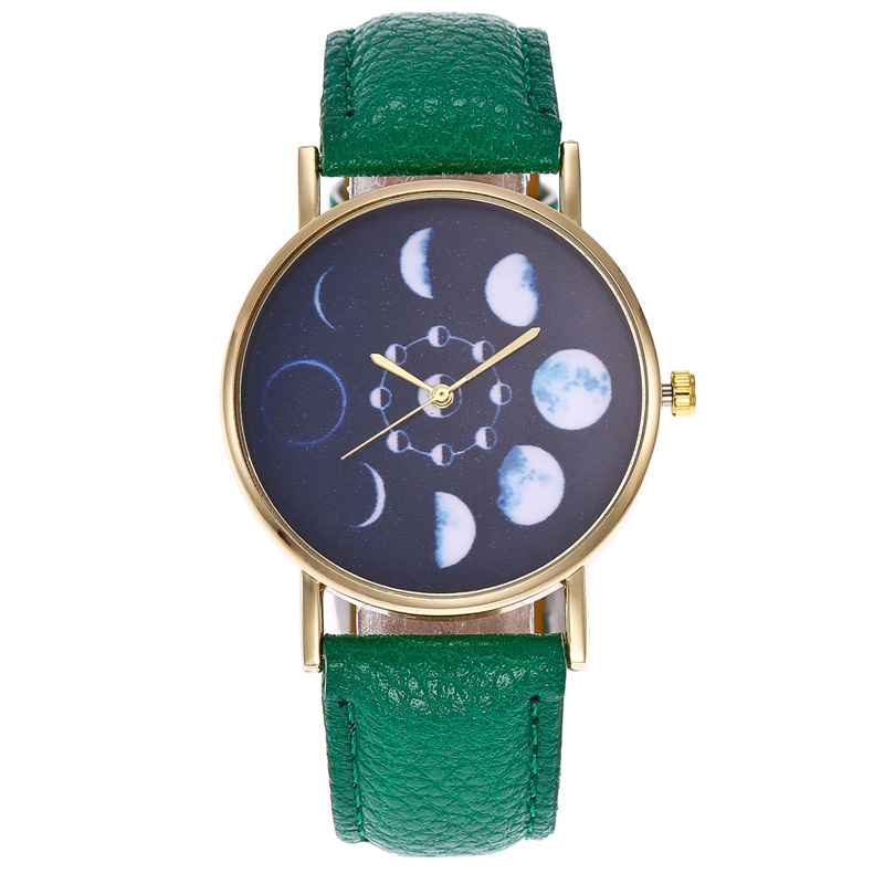 Women Men Quartz Watch Unisex Simple Lunar Eclipse Dial PU Leather Strap Wristwatch Gifts For Couple Lovers TT@88