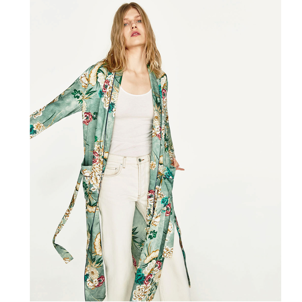 2018 New Vintage Pareo Retro Floral Print Green Long Kimono Jacket Long Sleeve Cardigan Maxi Shawl Summer Tops Belted Beachwear-in Blouses & Shirts from Women's Clothing & Accessories on Aliexpress.com | Alibaba Group