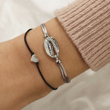Fashion Trendy Sliver Bohemia Heart Shell Bracelet For Women 2019 Adjustable Seashell Friendship Bracelets Summer Accessories