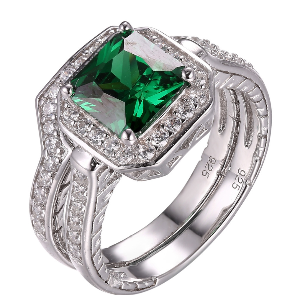 Newshe 1.33 Ct Princess Cut Green Zirconia 925 Sterling Silver Wedding Ring Set Engagement Band Fashion Jewelry For Women цена