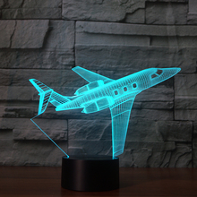 3D Airplane Plane lamp Night Light Touch Table Desk Optical Illusion Lamps 7 Color Changing Lights Home Decoration Xmas Birthday