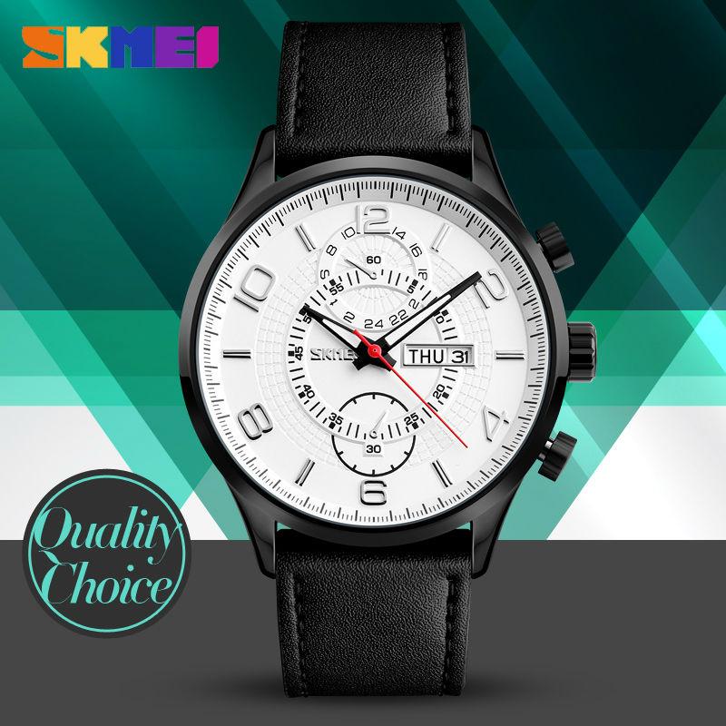 2017 Fashion Quartz Watches SKMEI Brand Men Luxury Watch Leather Waterproof Wristwatches Calendar Clock Relogio Masculino 1603S