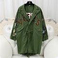 2017 новая коллекция весна длинным рукавом Корея Заклепки Патч С Длинным Рукавом черный army green Свободные Пальто куртка женская мода 6