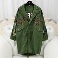 2017 new spring long sleeve Korea Rivet Patch Long Sleeve black army green Loose Coat jacket women fashion 6