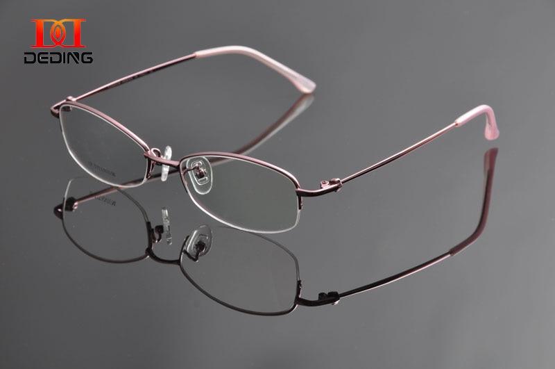 f0f0c9338e DEDING Womens Business Optical Myopia Glasses High Quality Half Rim  Titanium Eyeglasses Frame Oculos de Grau Feminino DD0948-in Eyewear Frames  from Women s ...
