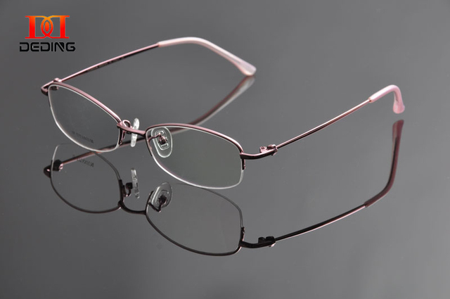 d98aebaeb12 DEDING Womens Business Optical Myopia Glasses High Quality Half-Rim  Titanium Eyeglasses Frame Oculos de