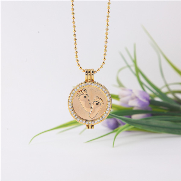 Interchangeable Disc Necklace: Vinnie Design Jewelry 33mm Baby Feet Interchangeable Coins