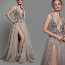 2019 Sexy Evening Dress V Neck Beads Open Back A Line Long Dresses Party High Split Tulle Prom Gowns Vestido De Festa