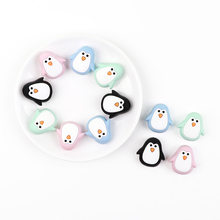 TYRY.HU 2PC Silicone Beads Cute Animal Mini Penguin Silicone Teething Beads Accessories Ma