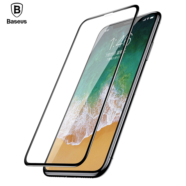 Baseus Front Tempered Glass Film For iPhone X 0.23mm Soft Edge Pet Full Coverage Ultra Thin Screen Protector Glass For iPhone X