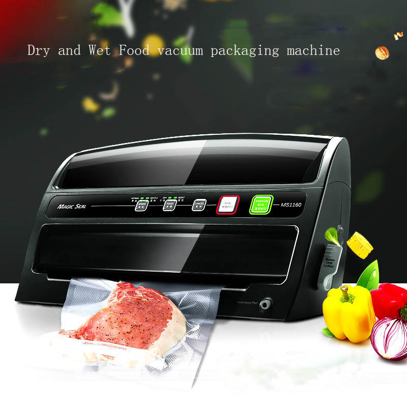 Automatic vacuum food sealer household food preservation plastic packaging  vacuum film sealing machine automatic continuous plastic film sealing machine for food cosmetic potato chips dbf 1000 110v 60hz