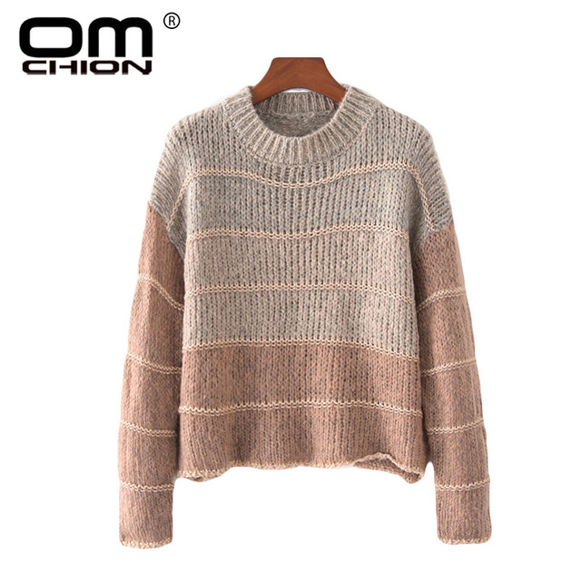5acf5ccccbe1 OMCHION Chaqueta Mujer 2018 Autumn Winter Gradient Mohair Sweater Women  Casual Loose Korean Warm Pullover Knitwear Jumpers LMM14