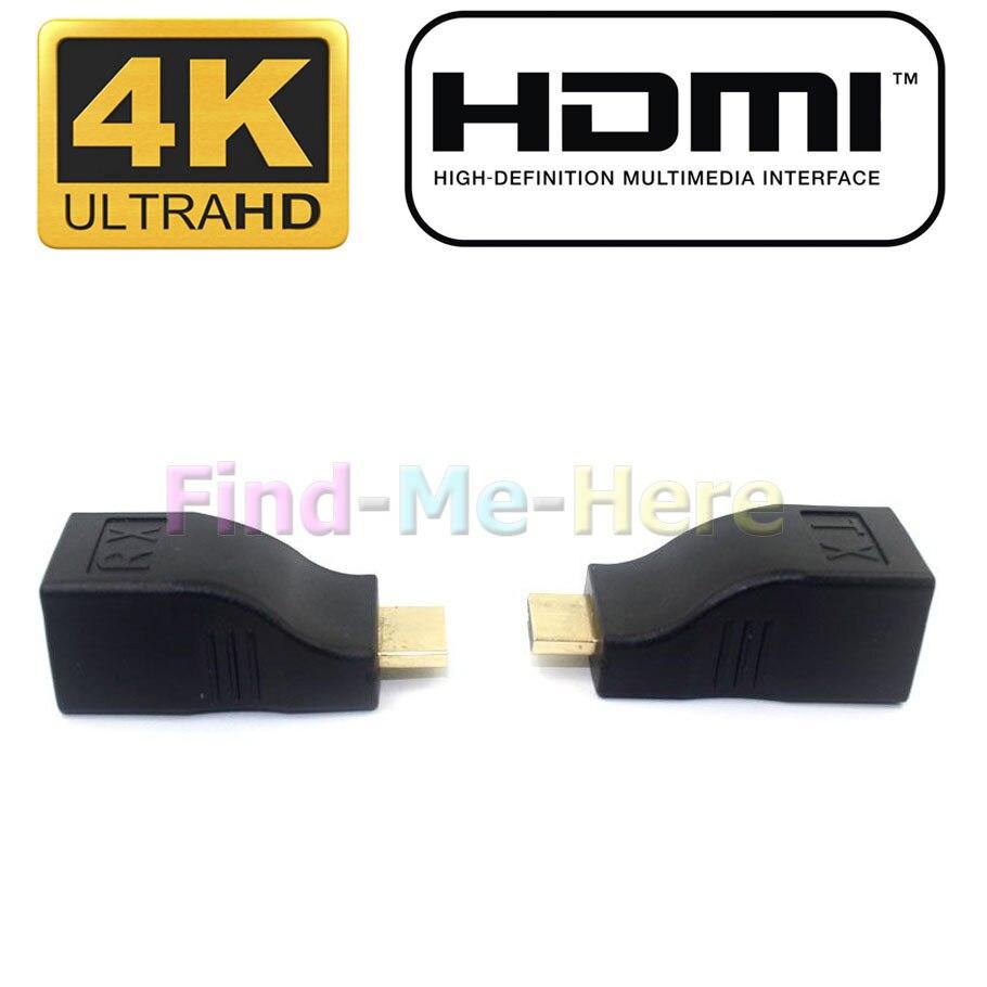 30M 4K HDMI 2.0 Single RJ45 CAT5E CAT6 Passive HDCP 1080P 4K Resolution HDMI Extender Repeater 3D For HDTV HDPC PS3 STB hdmi extender rj45