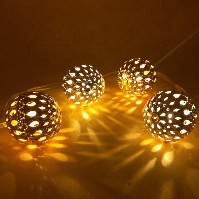 5M 10m Warm White Morocco balls LED String Lights Golden Luces Navidad Christmas Lights Outdoor Wedding Arrangement Decorations