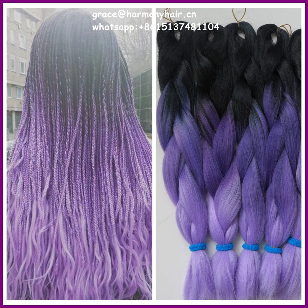 "FREE SHIPPING 10ppacks 24"" 100g ombre purple braiding hair ...