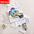 100% Cotton 2017 New Toddler Boys Clothing Summer Clothes for Children Cartoon Kids Boy Clothing Set Vest+Pants 2 Piece Set T508