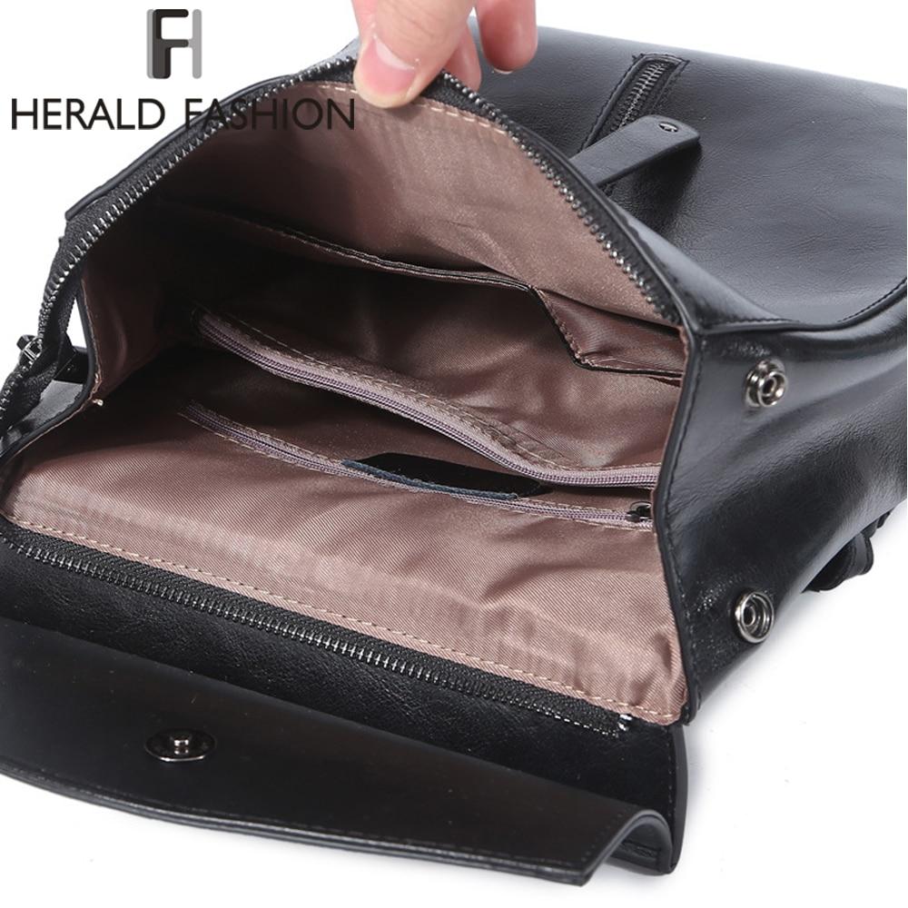 Herald Fashion Genuine Leather Backpack Vintage Cow Split Leather Women Backpack Ladies Shoulder Bag School Bag For Teenage Girl #6