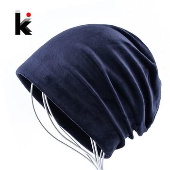 2018 Women's Beanies Hat Autumn And Winter Warm Velvet Bonnets For Men Soft Casual Solid Caps Women Unisex Skullies Beanie Muts 1
