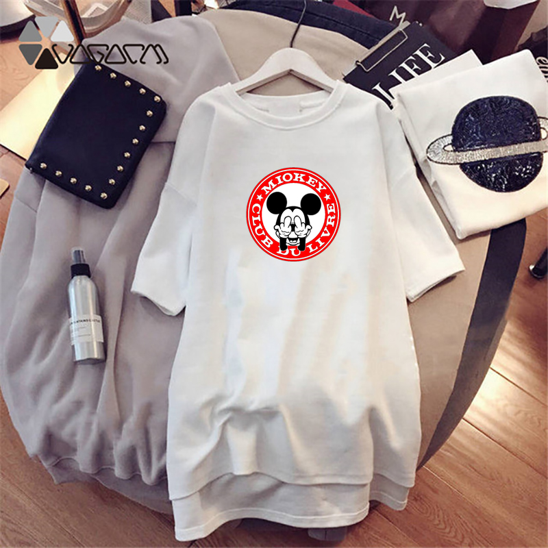 Summer Women Dresses Mickey Mouse Cute Cartoon Print Chic Loose Clothes For Women Plus Size M 4XL Harajuku White Mini Dress 2019 in Dresses from Women 39 s Clothing