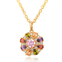 Trendy Chain Colorful Round Crystal Pendant Necklace Flower Necklaces With High Quality Cubic Zircon For Women