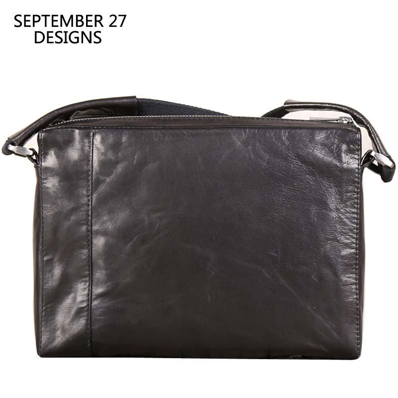 Messenger Bag Men Genuine Leather Mens Handbags Sheepskin Leather Flap Small Crossbody Bags For Male Mini